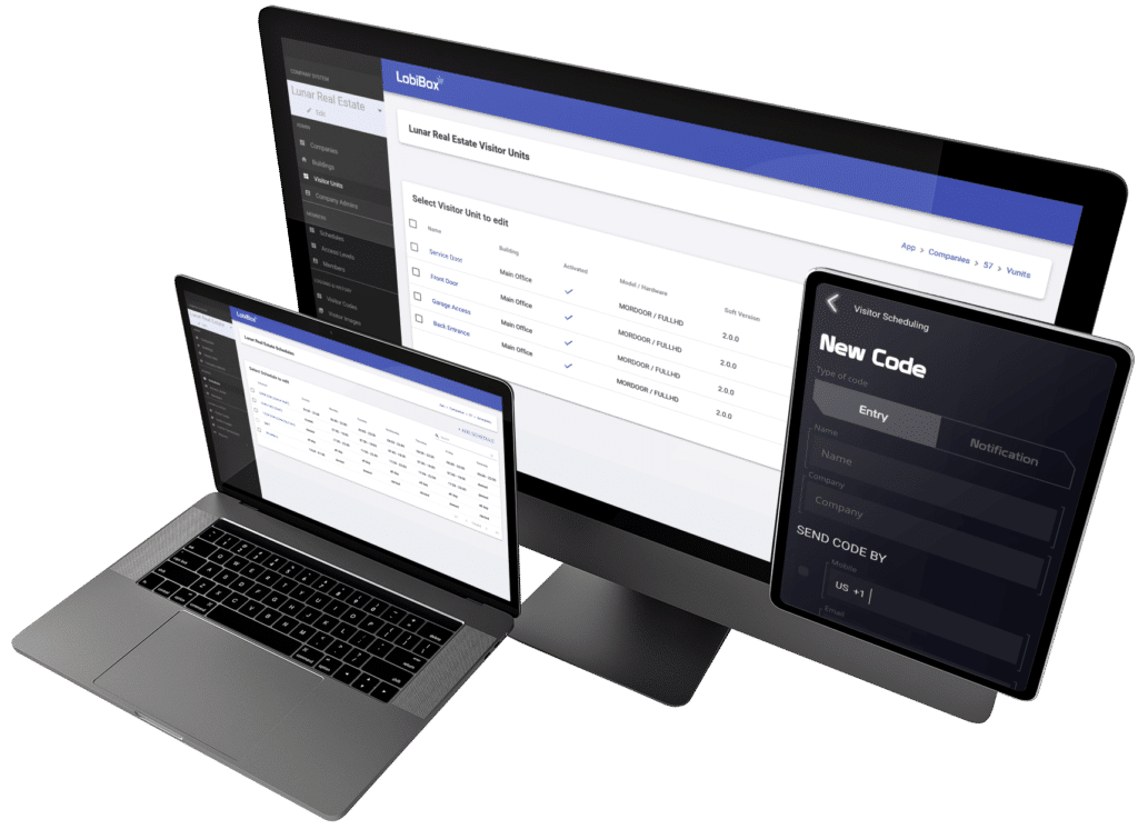 Display Admin Dashboard With Visitor Code Creation On Tablet