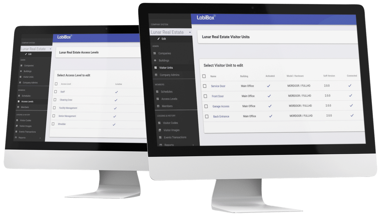 Display Company's Visitor Units and Access Levels On Admin Dashboard