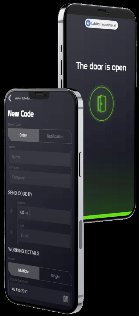 Visitor Code Creation and Open Door Screen